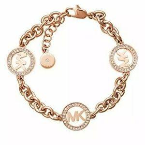 Michael Kors Women's logo rose gold chain bracelet